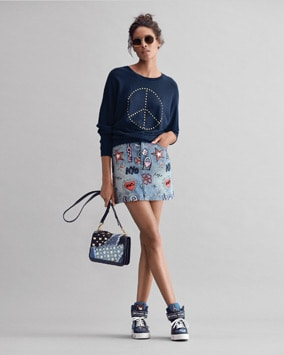 Studded Pullover, Embroidered Skirt, Mott Crossbody, Trent Sneaker